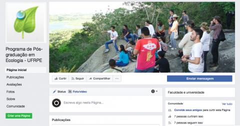 Visão geral da página principal do PPGE no Facebook.
